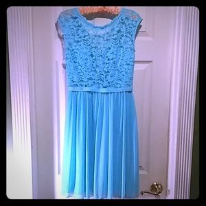 Mint lace and mesh with illusion neckline dress